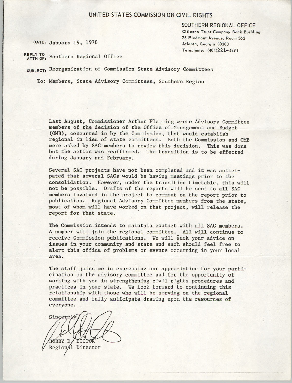 Memorandum from Bobby D. Doctor to State Advisory Committee members, Southern Region, United States Commission on Civil Rights, January 19, 1978