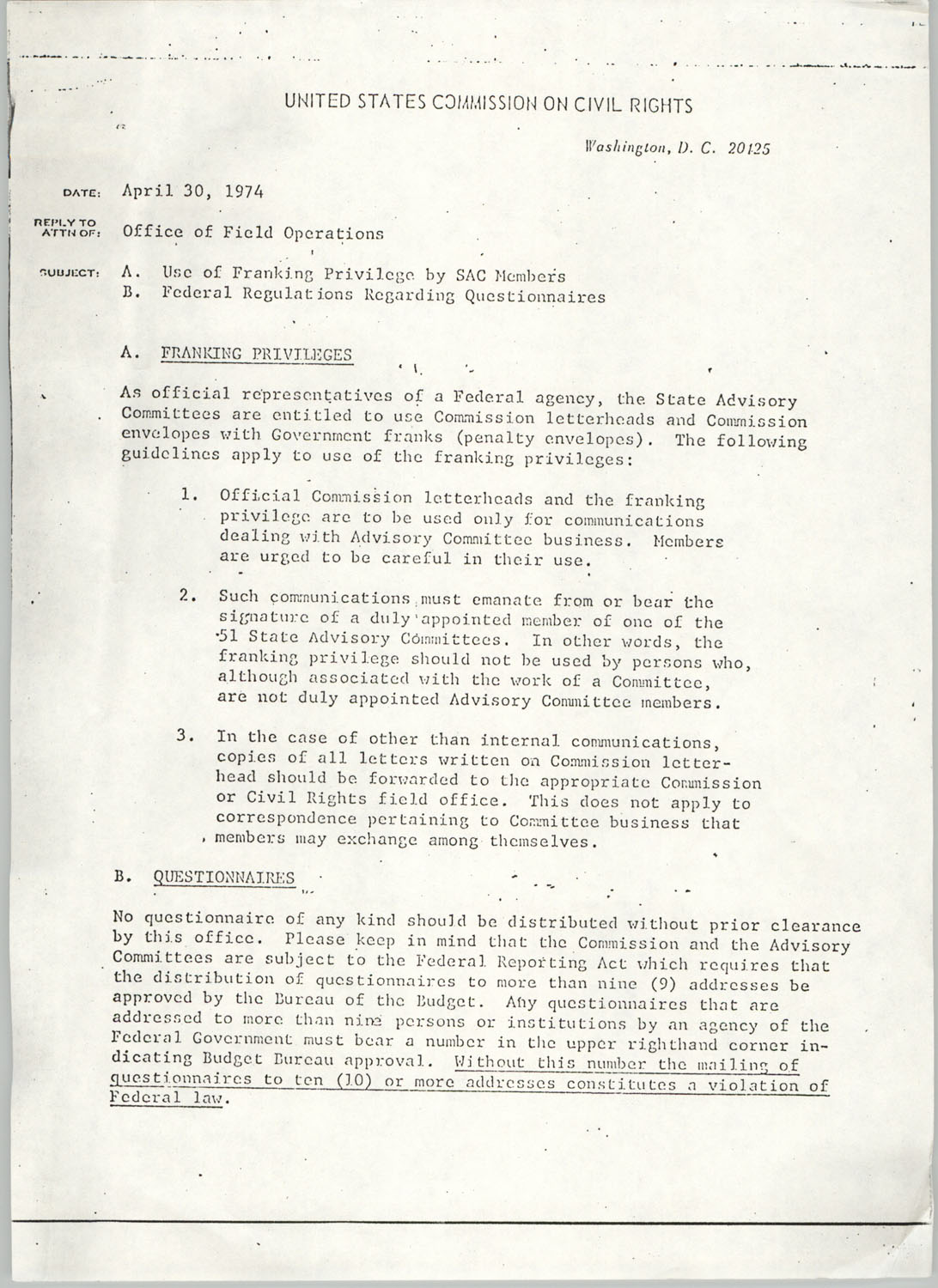 Memorandum, United States Commission on Civil Rights, April 30, 1974