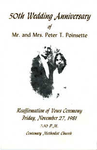 50th Wedding Anniversary Program, November 27, 1981