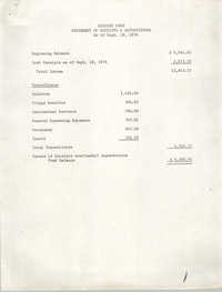 Minutes, Penn Community Services, Receipts and Expenditures, September 18, 1974