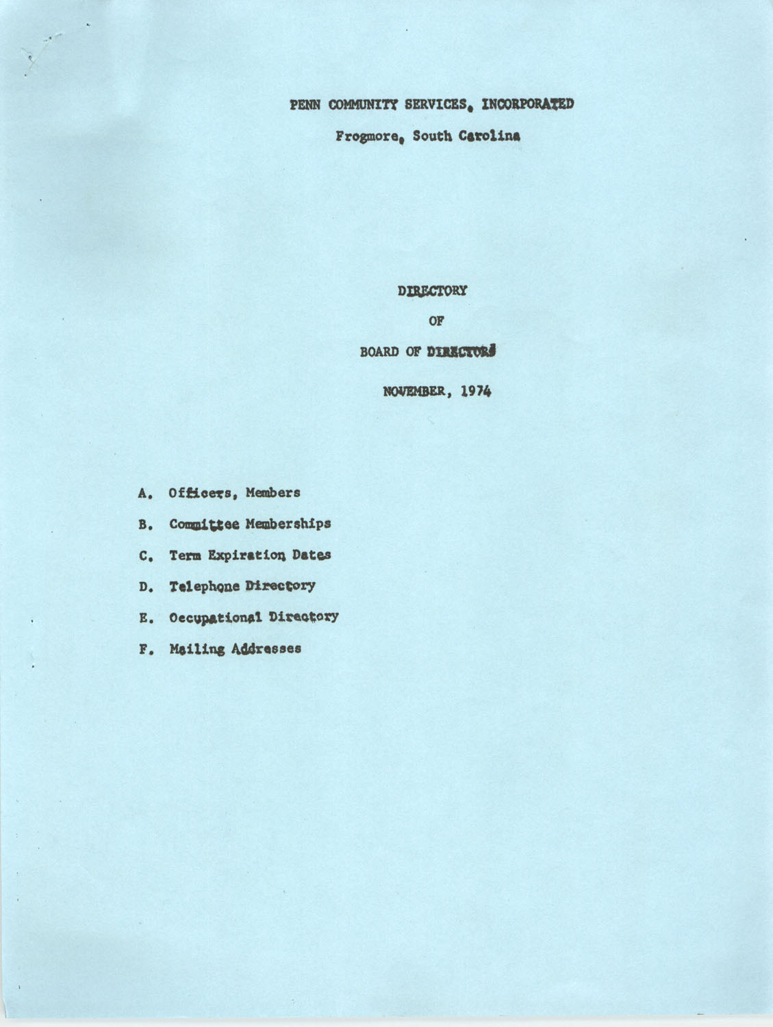 Directory of Board of Trustees, Penn Community Services, November 1974