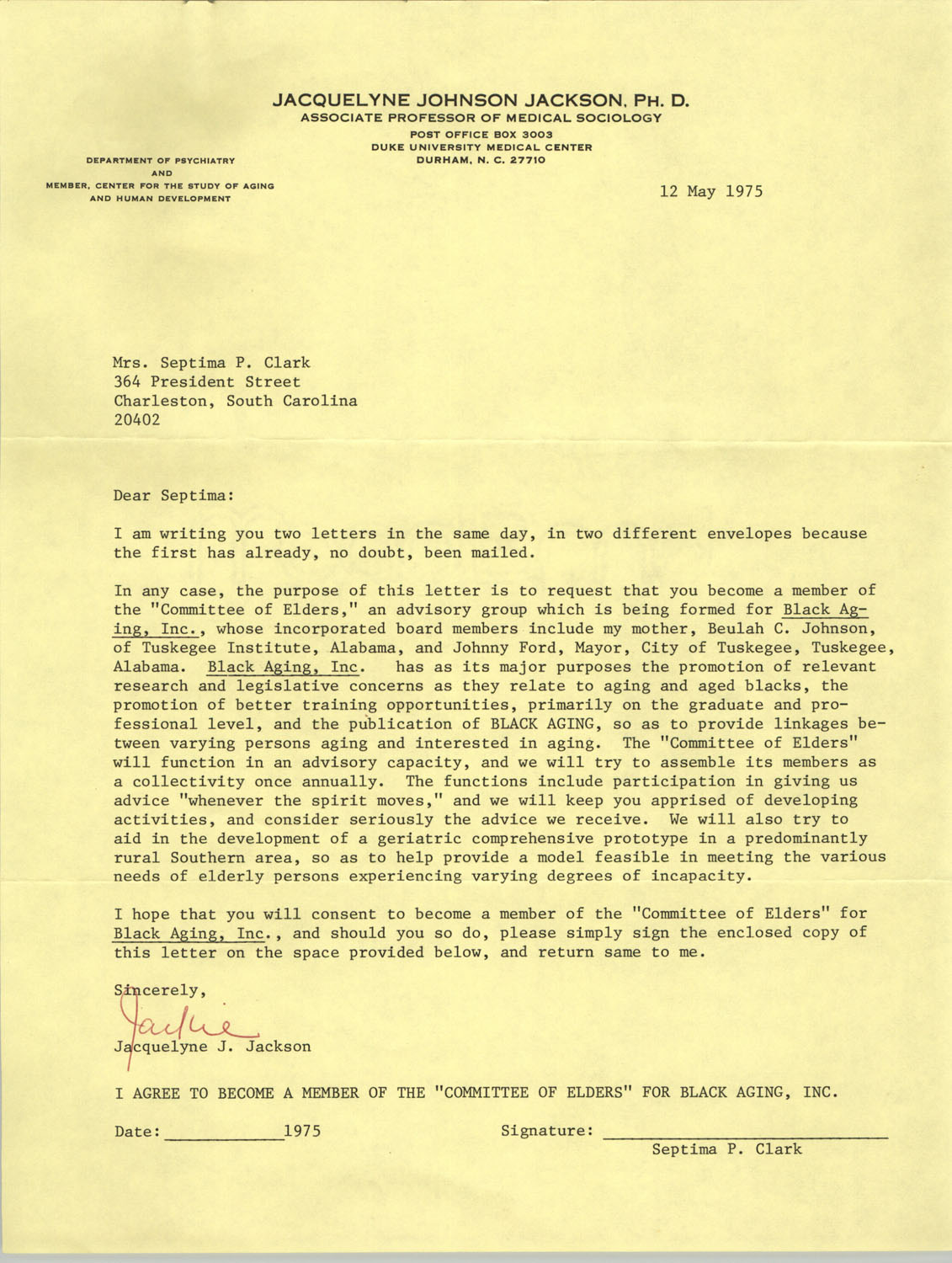 Letter from Jaquelyne J. Jackson to Septima P. Clark, May 12, 1975 (1)
