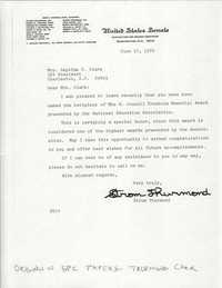 Letter from South Carolina Senator, Strom Thurmond to Septima P. Clark, H. Councill Trenholm Memorial Award