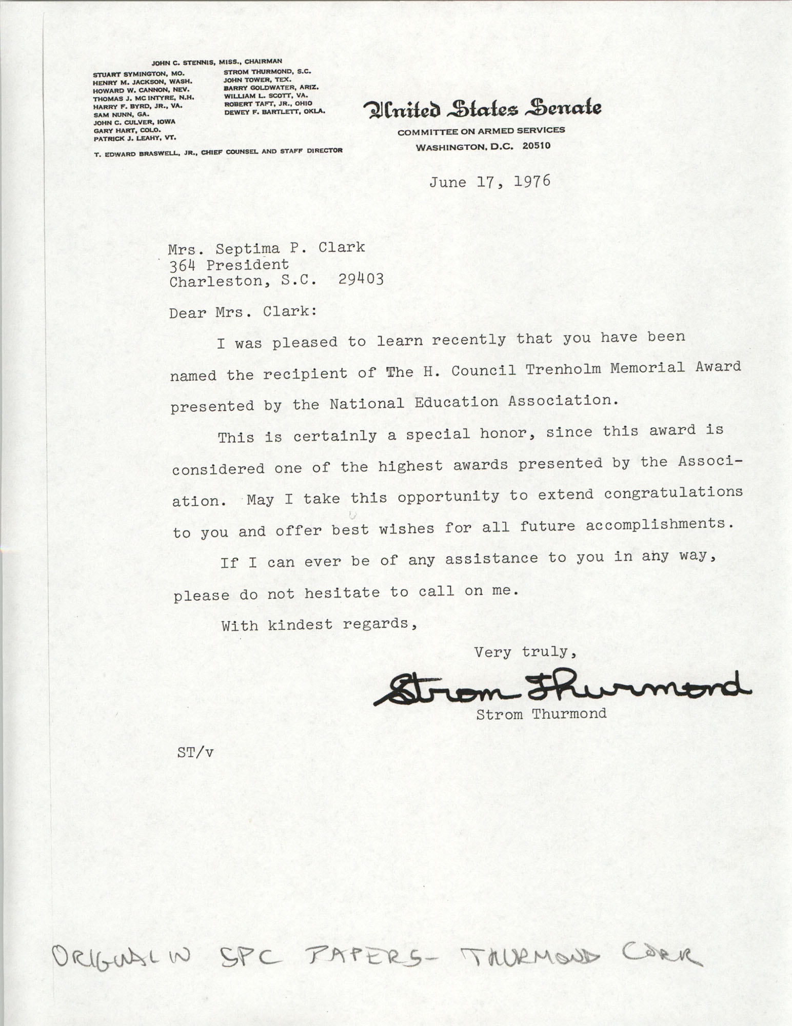 Letter from South Carolina Senator, Strom Thurmond to Septima P. Clark, H. Councill Trenholm Memorial Award