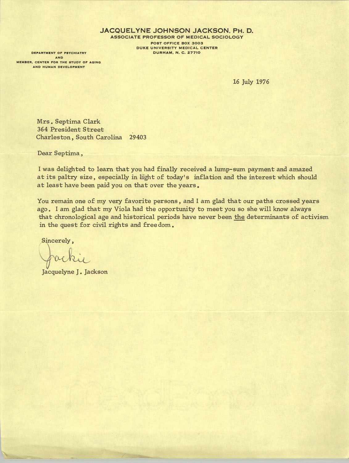 Letter from Jaquelyne J. Jackson to Septima P. Clark, July 16, 1976