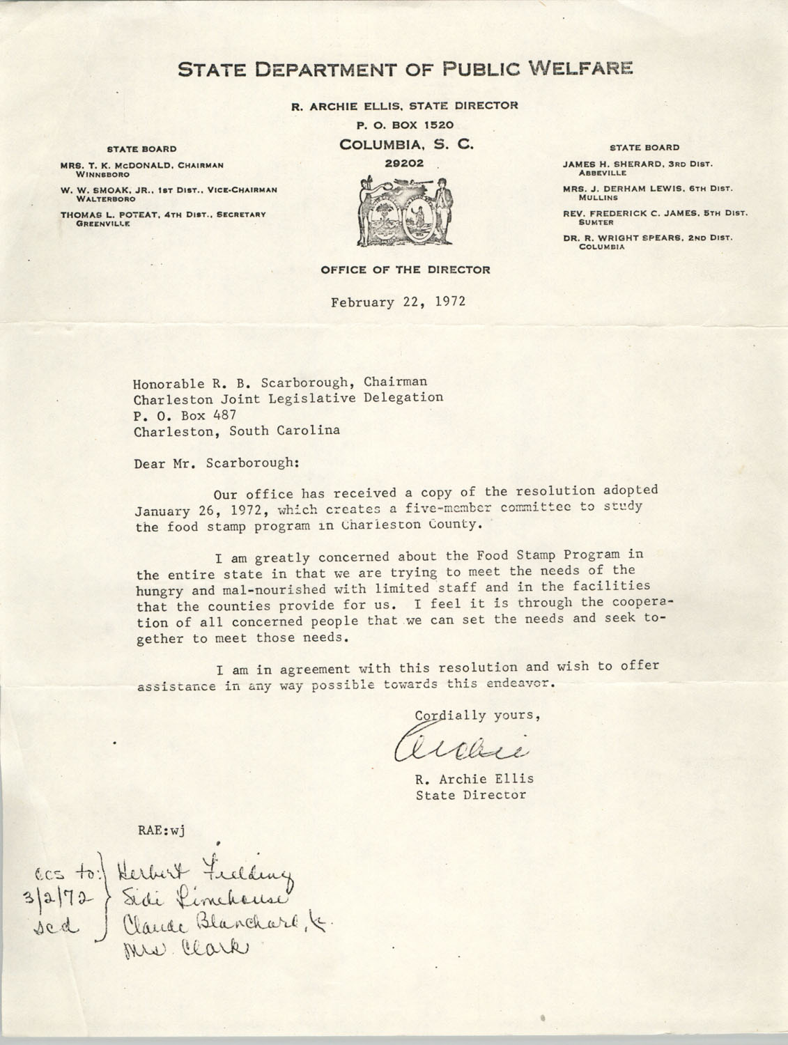 Letter from R. Archie Ellis to Honorable R. B. Scarborough, February 22, 1972