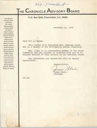 Letter from James Blair to Chronicle Advisory Board Members, November 12, 1975
