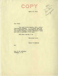 Santee-Cooper: Correspondence between Richard M. Jefferies (General Counsel of the South Carolina Public Service Authority) and Senator Burnet R. Maybank, April 1943