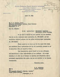 Santee-Cooper: Letter from Richard M. Jefferies (General Counsel of the South Carolina Public Service Authority) to W. M. Edmunds (War Production Board), April 1, 1944