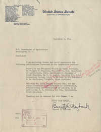 Santee-Cooper: Letter from Senator Burnet R. Maybank to U.S. Department of Agriculture, September 1, 1944