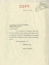 Santee-Cooper: Correspondence between Marion M. Caskie (Vice President of Reynolds Metals Company) and Senator Burnet R. Maybank, November 29, 1944