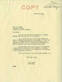 Santee-Cooper: Correspondence between Richard I. Lane (South Carolina Public Service Authority) and D. A. Smith (Secretary of Senator Burnet R. Maybank), March 1944