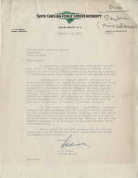 Santee-Cooper: Letter from Robert M. Cooper (General Manager of the South Carolina Public Service Authority) to Senator Burnet R. Maybank, March 6, 1942