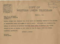 Santee-Cooper: Telegram from Senator Burnet R. Maybank to Richard M. Jefferies (General Counsel of the South Carolina Public Service Authority), March 1, 1944