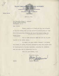Santee-Cooper: Letter from Richard M. Jefferies (General Counsel of the South Carolina Public Service Authority) to Senator Burnet R. Maybank, March 6, 1944