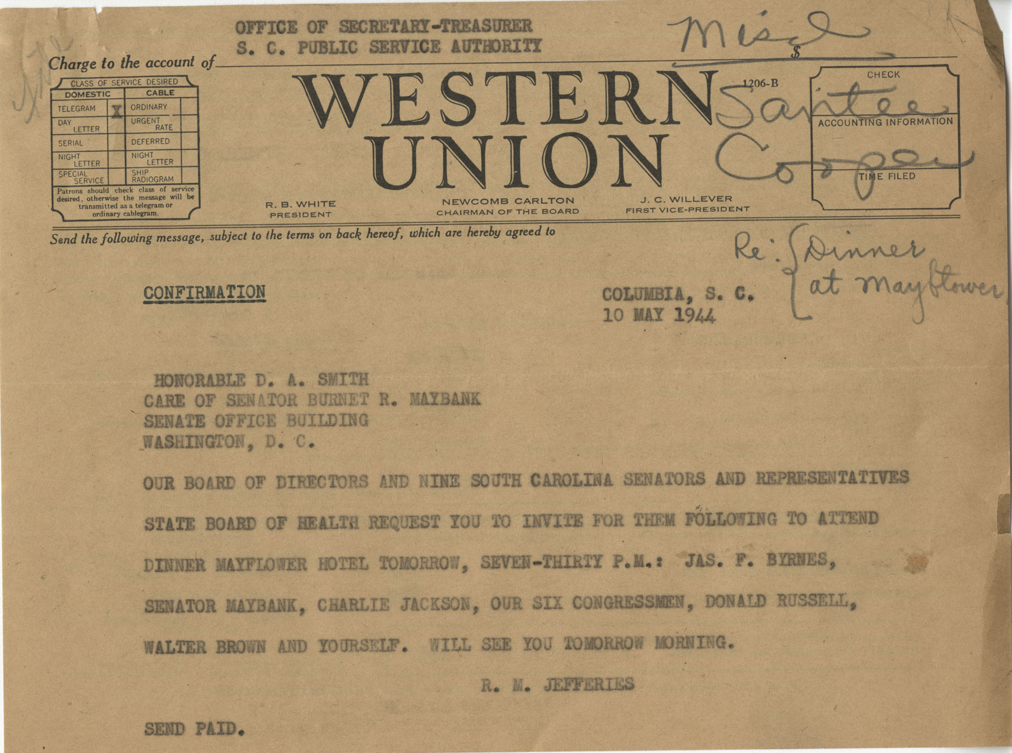 Santee-Cooper: Telegram from Richard M. Jefferies (General Counsel of the South Carolina Public Service Authority) to Senator D. A. Smith, May 10, 1944