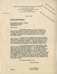 Santee-Cooper: Letter from Richard M. Jefferies (General Counsel of the South Carolina Public Service Authority) to Senator Burnet R. Maybank, June 1, 1944
