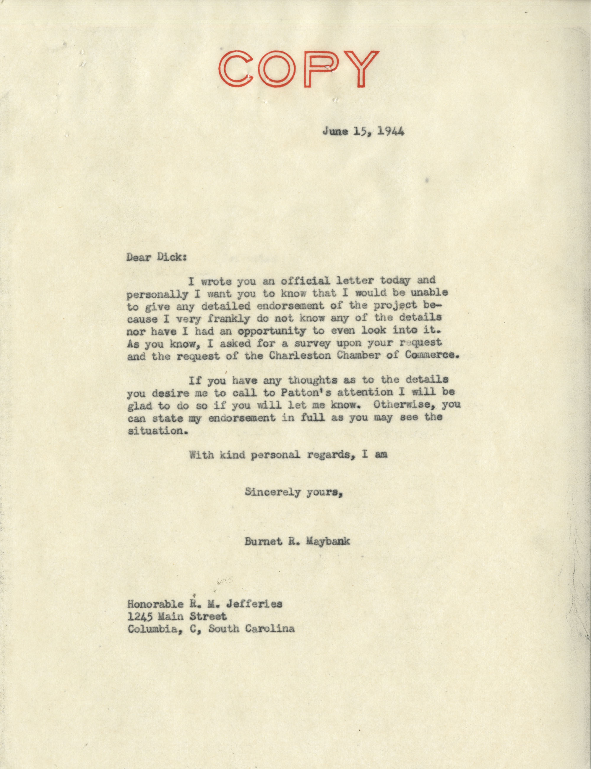 Santee-Cooper: Letter from Senator Burnet R. Maybank to Richard M. Jefferies (General Counsel of the South Carolina Public Service Authority), June 15, 1944