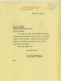 Teenage Draft: Correspondence between G. A. Bridges (Bridges & Hamrick, General Merchants) to Senator Burnet R. Maybank, August 29, 1942