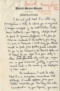 Santee-Cooper: Memorandum Written by Senator Burnet R. Maybank to Baird Snyder (Administrator of the Federal Works Agency), 1942