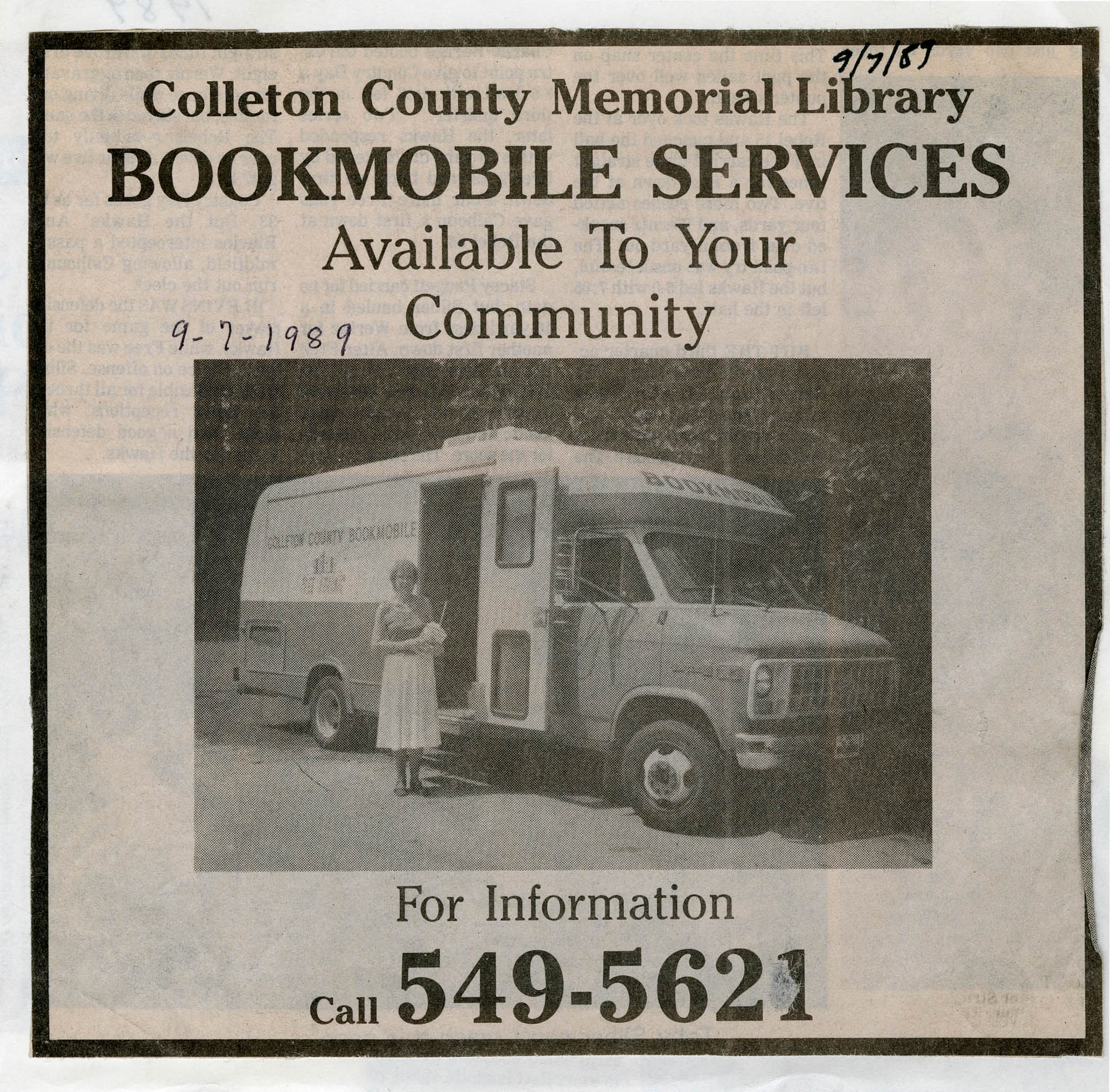 Bookmobile Services Available to Your Community