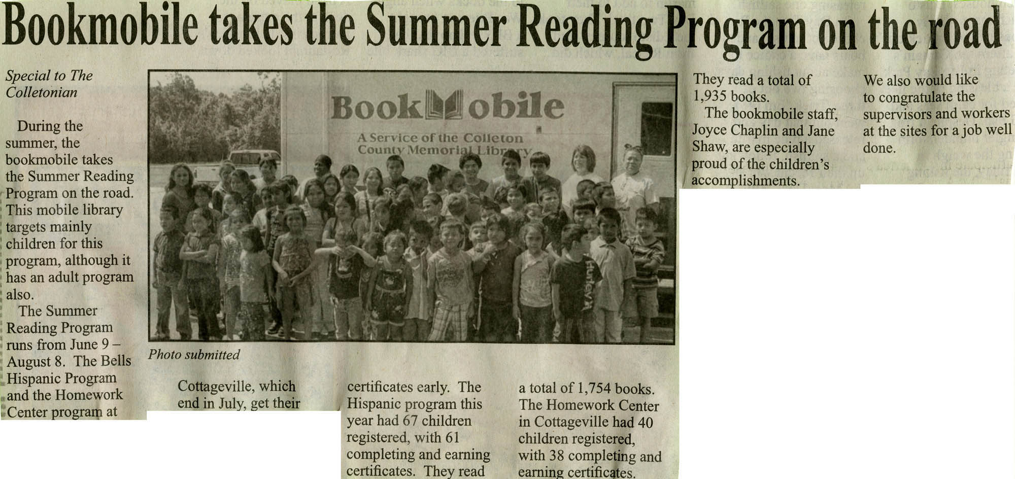 Bookmobile Takes the Summer Reading Program on the Road