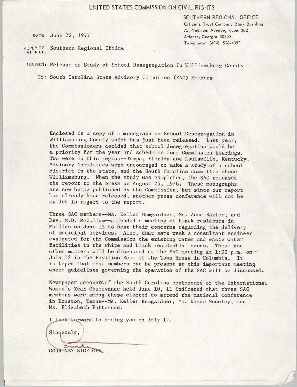 Memorandum from Courtney Siceloff to South Carolina Advisory Committee, June 22, 1977