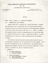 Memorandum from John W. Gadson, Sr. to Staff Members and Board of Trustees, Penn Community Services, 1972