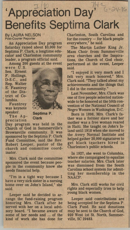 Newspaper Article, June 24, 1986
