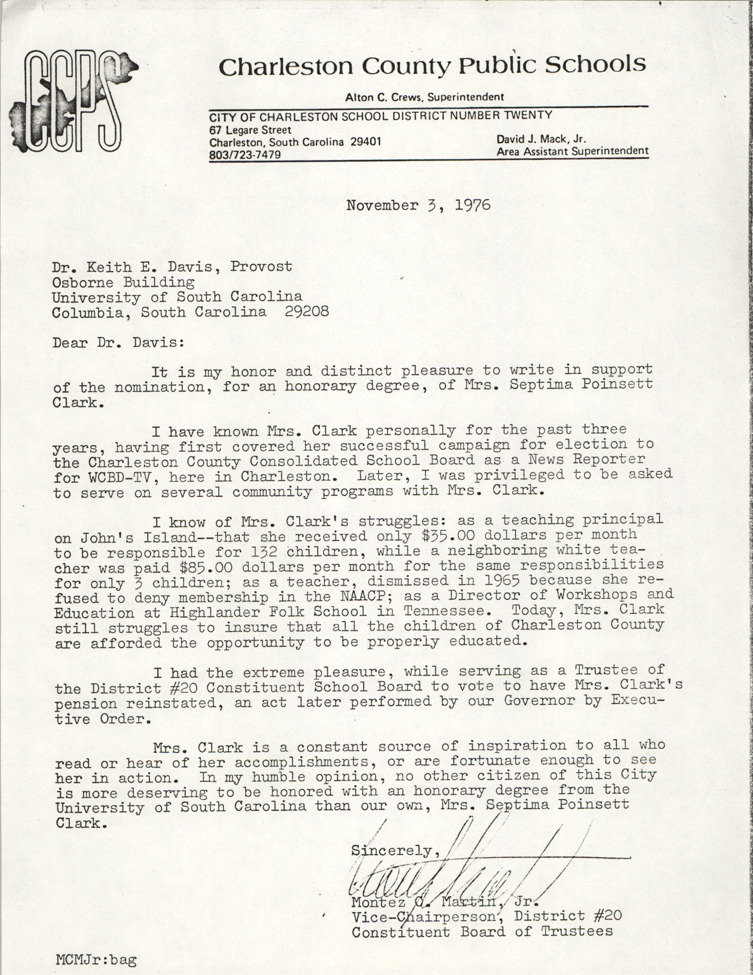 Letter from Montez O. Martin, Jr. to Keith E. Davis, November 3, 1976