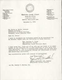 Letter from Lonnie Hamilton, III to Keith E. Davis, November 6, 1976