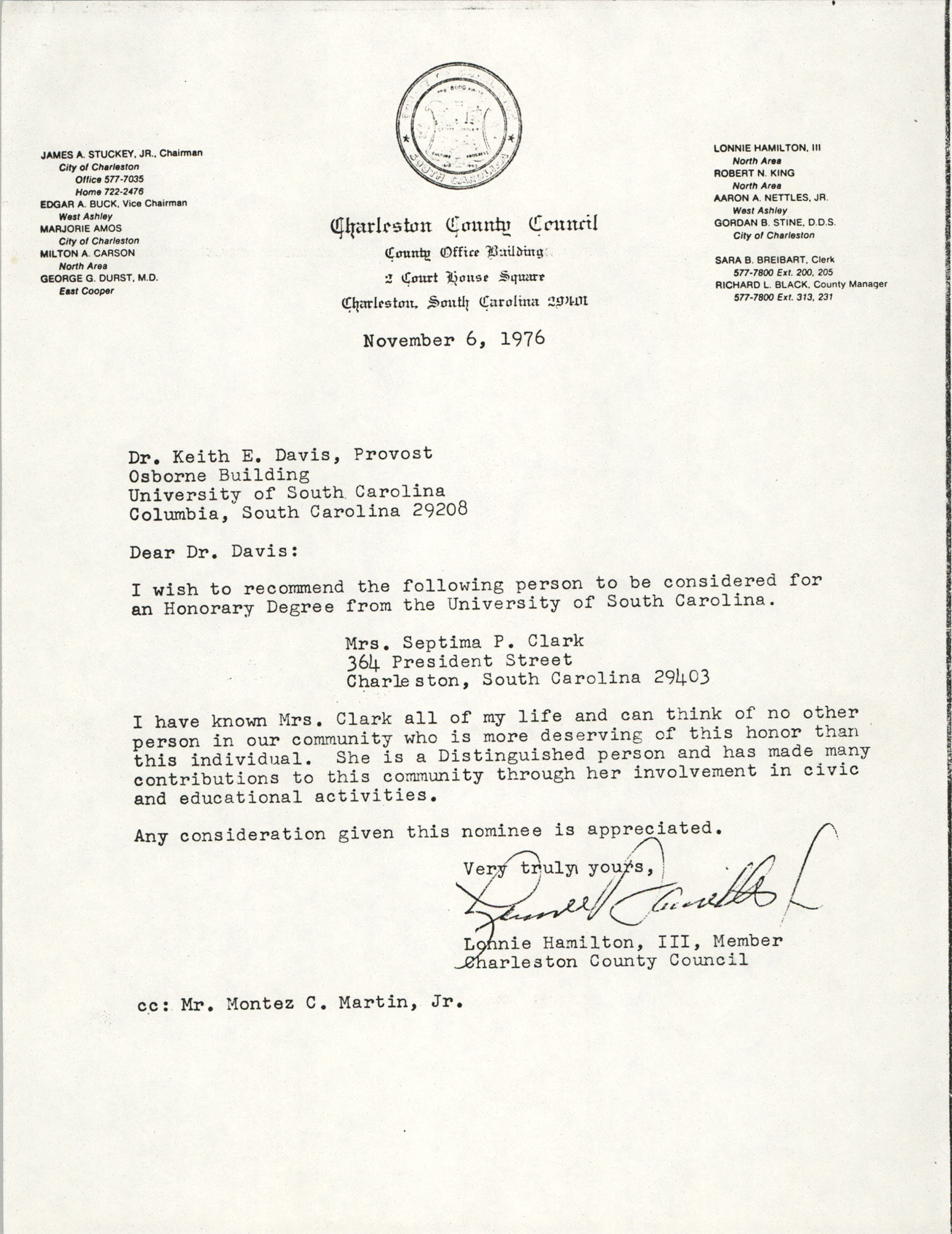 Letter from Lonnie Hamilton, III to Keith E. Davis, November 6, 1976