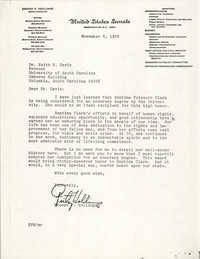 Letter from Ernest F. Hollings to Keith E. Davis, November 4, 1976