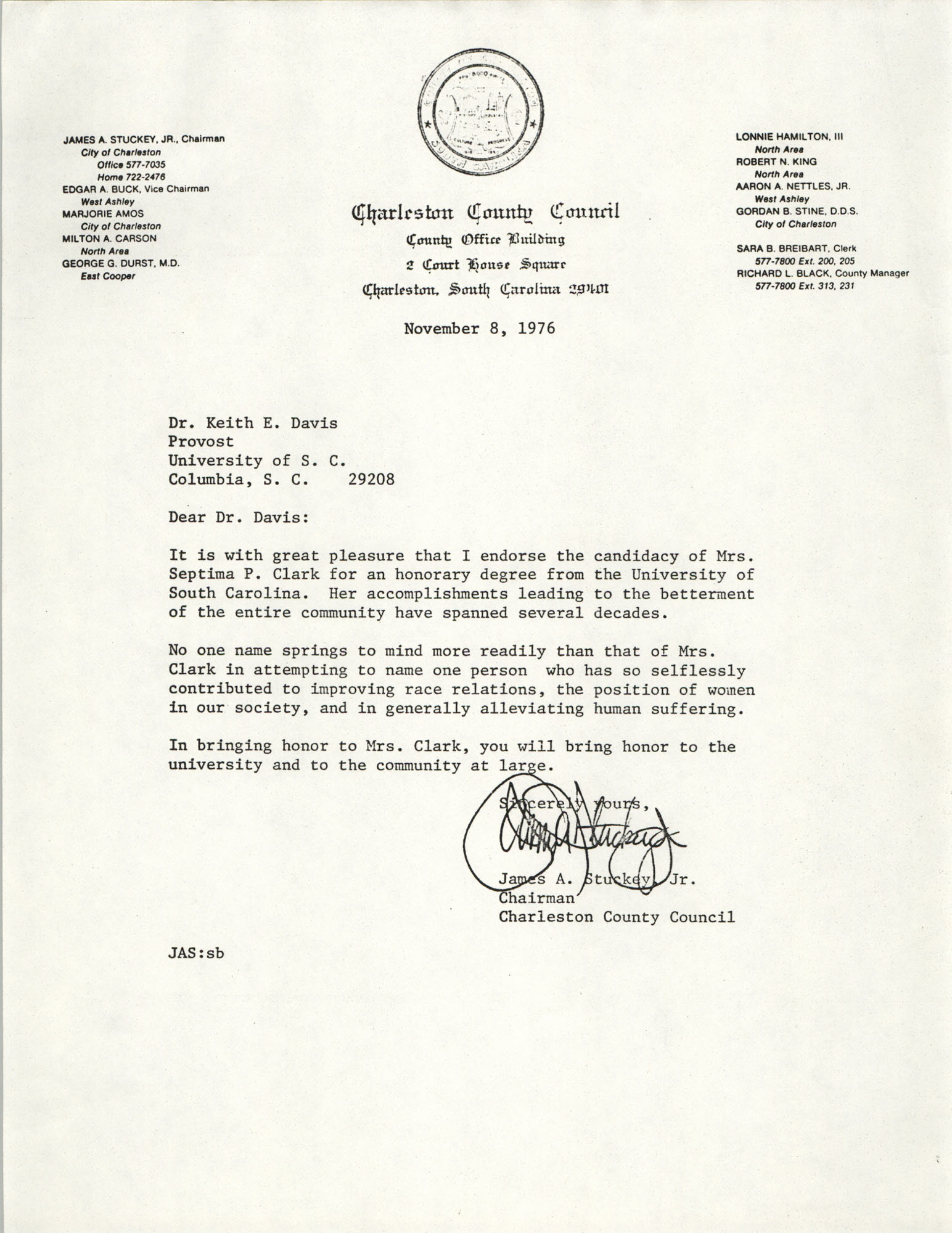 Letter from James A. Stuckey, Jr. to Keith E. Davis, November 8, 1976