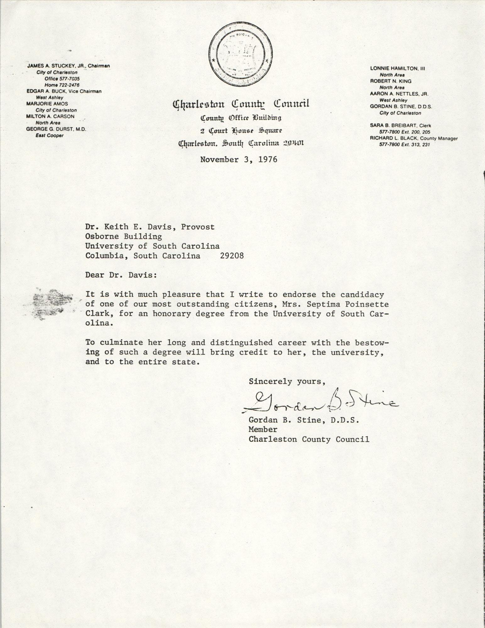 Letter from Gordon B. Stine to Keith E. Davis, November 3, 1976