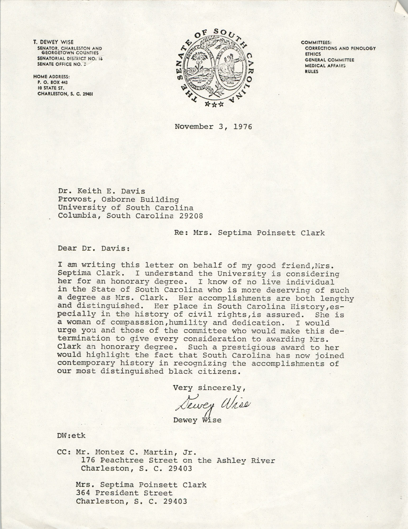 Letter from Dewey Wise to Keith E. Davis, November 3, 1976
