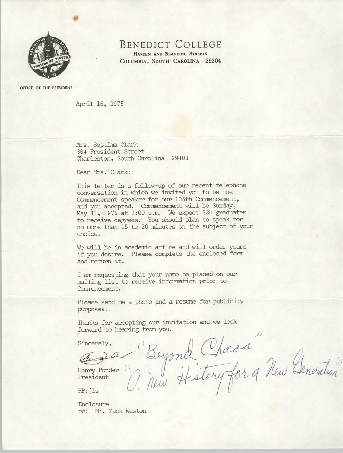 Letter from Henry Ponder to Septima P. Clark, April 15, 1975