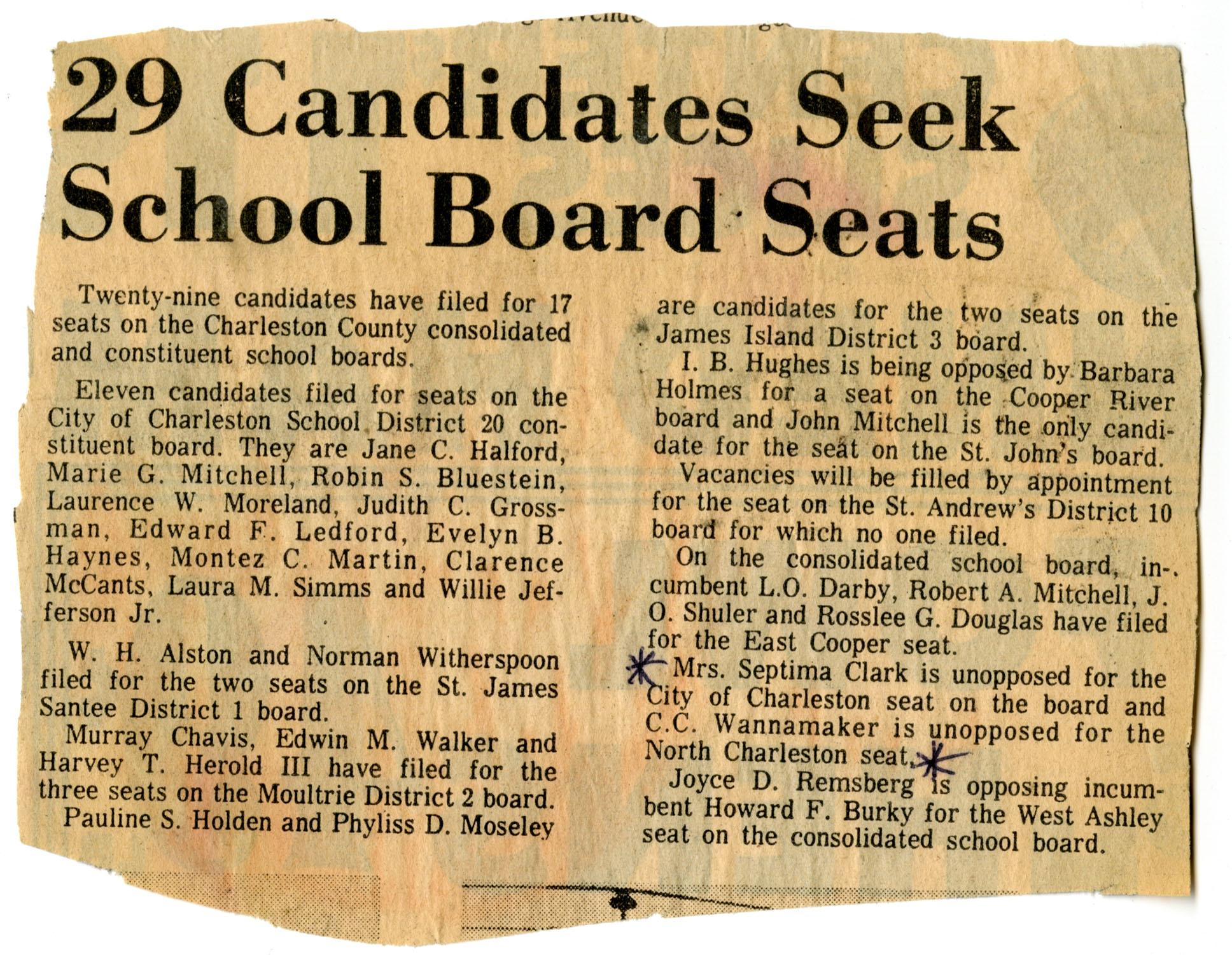 Newspaper Article, Charleston County School Board
