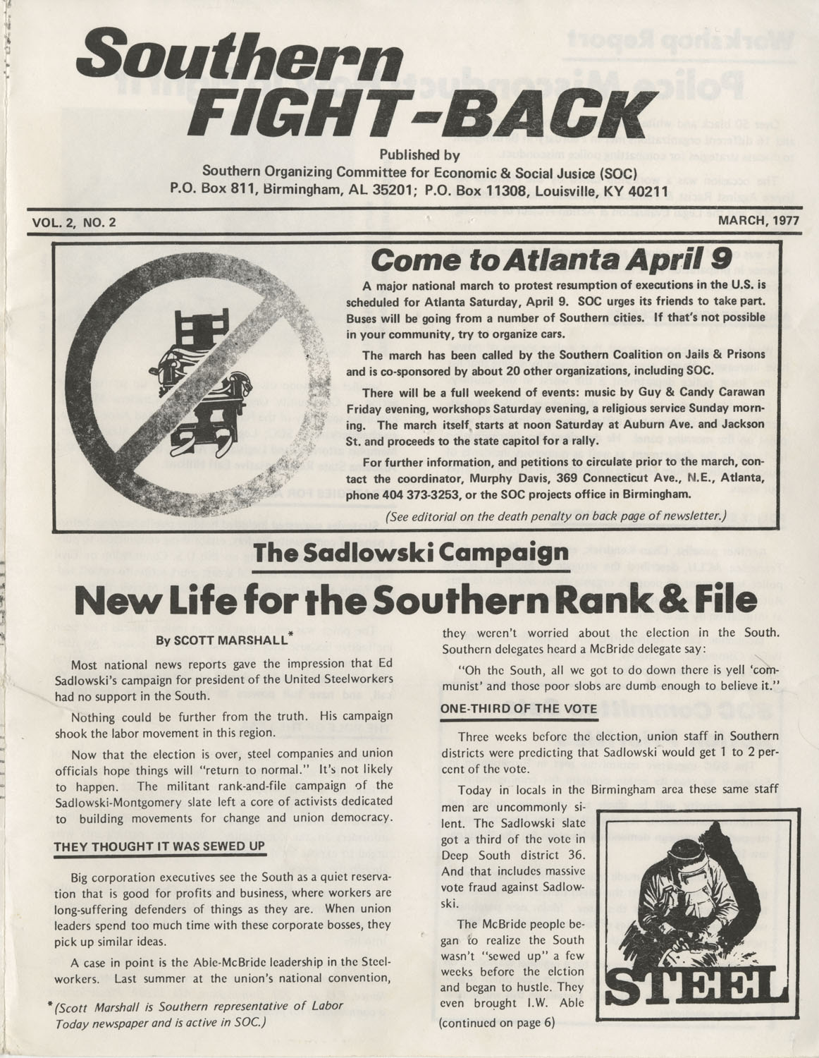 Southern Fight-Back, Southern Organizing Committee for Economic and Social Justice, March 1977