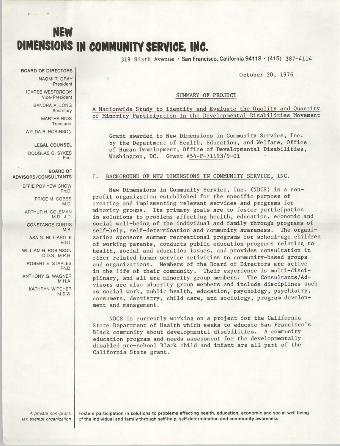 Summary of Project, Nationwide Development Disabilities Study, October 20, 1976