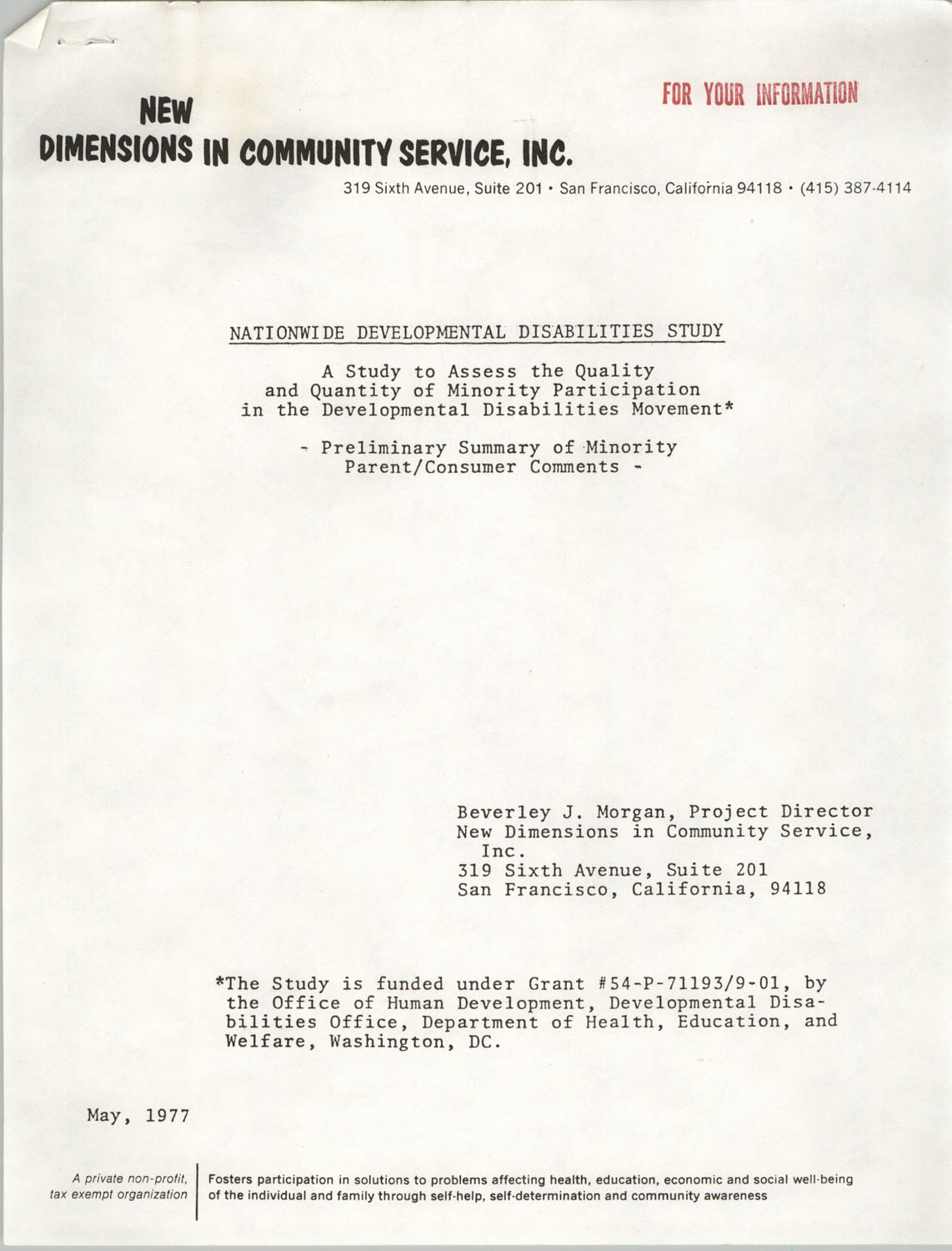 Nationwide Development Disabilities Study, New Dimensions in Community Service, May 1977