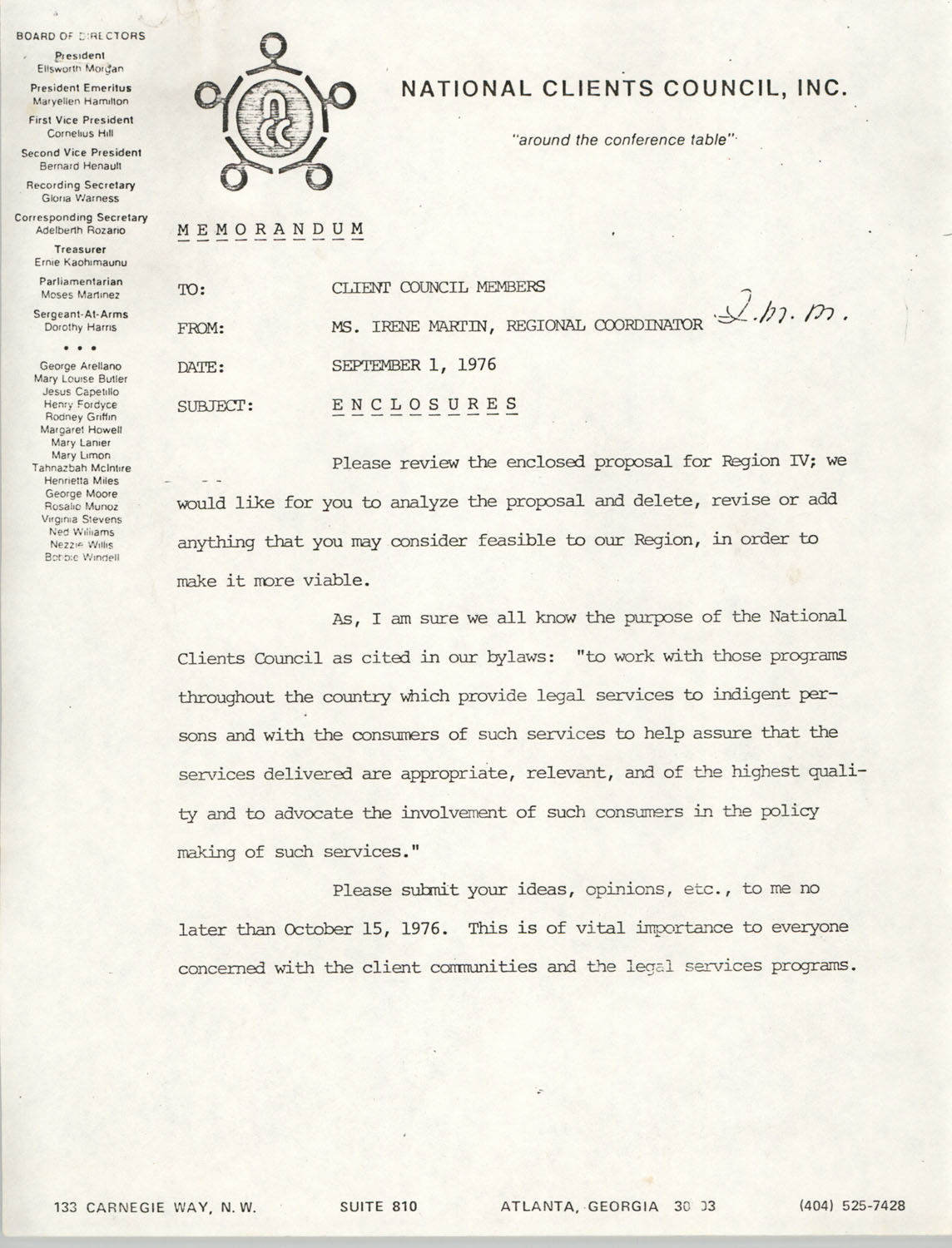 Memorandum from Irene Martin to Client Council Members, National Clients Council, September 1, 1976