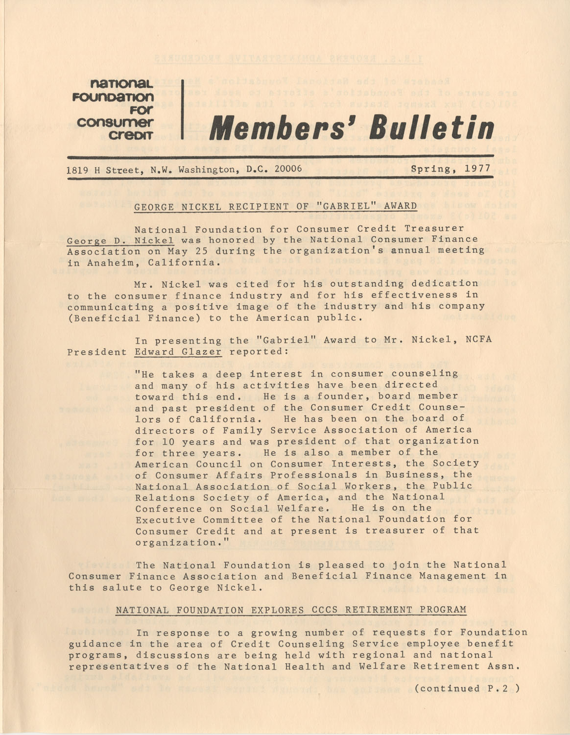 Members' Bulletin, National Foundation for Consumer Credit, Spring 1977