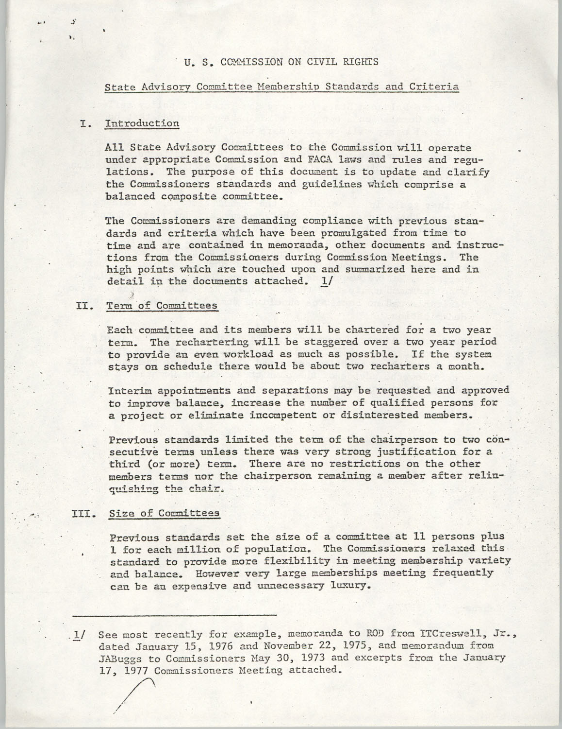 SAC Membership Standards and Criteria, United States Commission on Civil Rights, February 16, 1977