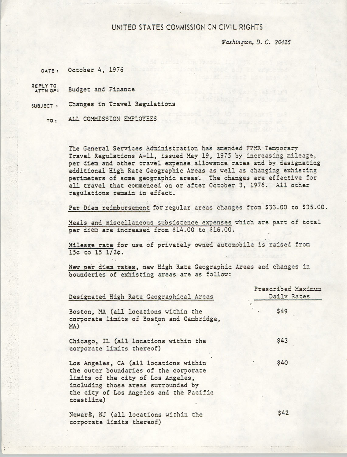 Memorandum, Changes in Travel Regulations, United States Commission on Civil Rights, October 4, 1976