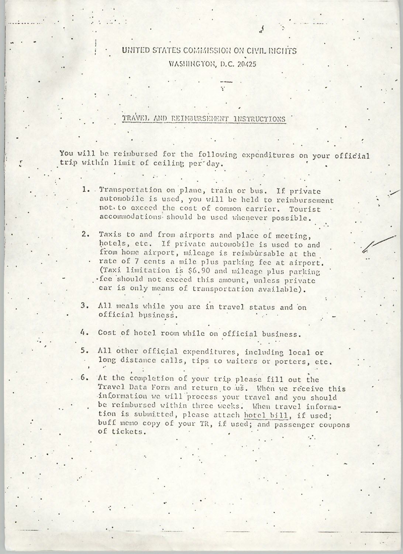 Travel and Reimbursement Instructions, May 1975