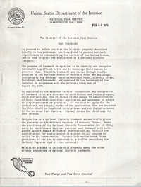 Letter from United States Department of the Interior to Penn Community Services, February 24, 1975