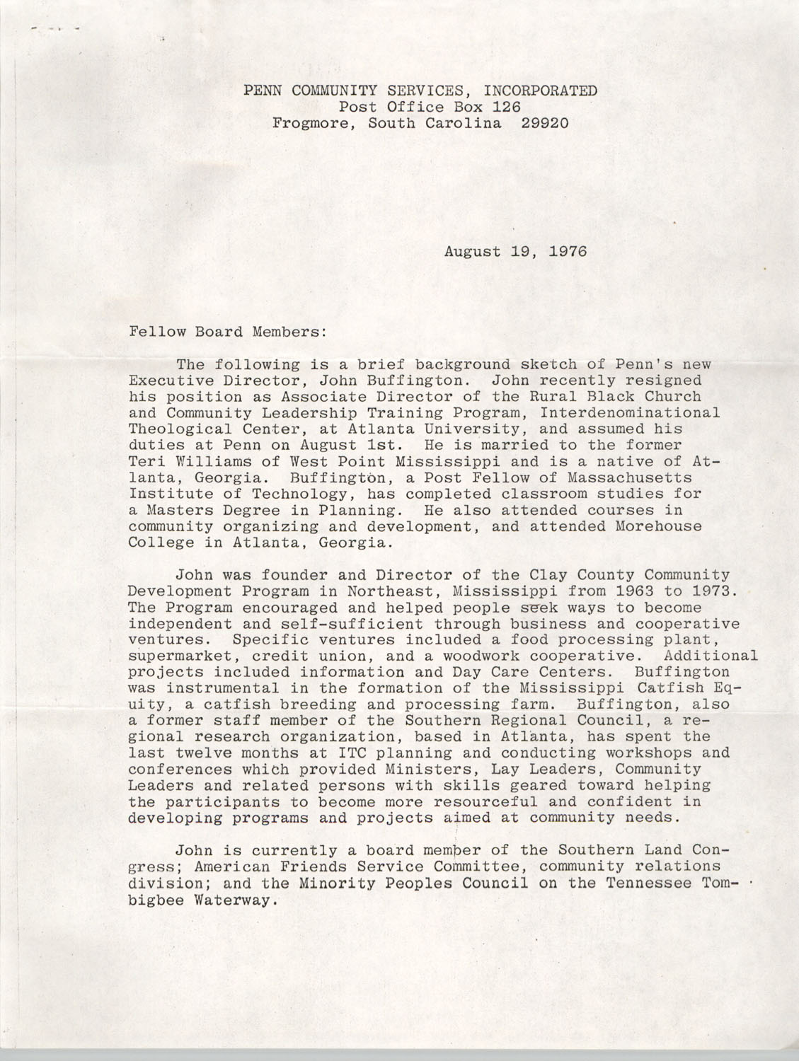 Letter from Penn Community Services Provost to Board member, August 19, 1976