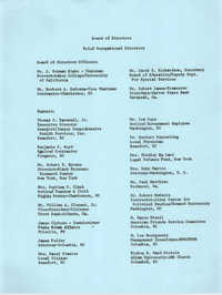 Board of Directors Brief Occupational Directory and Mailing Addresses, Penn Community Services, 1974-1975