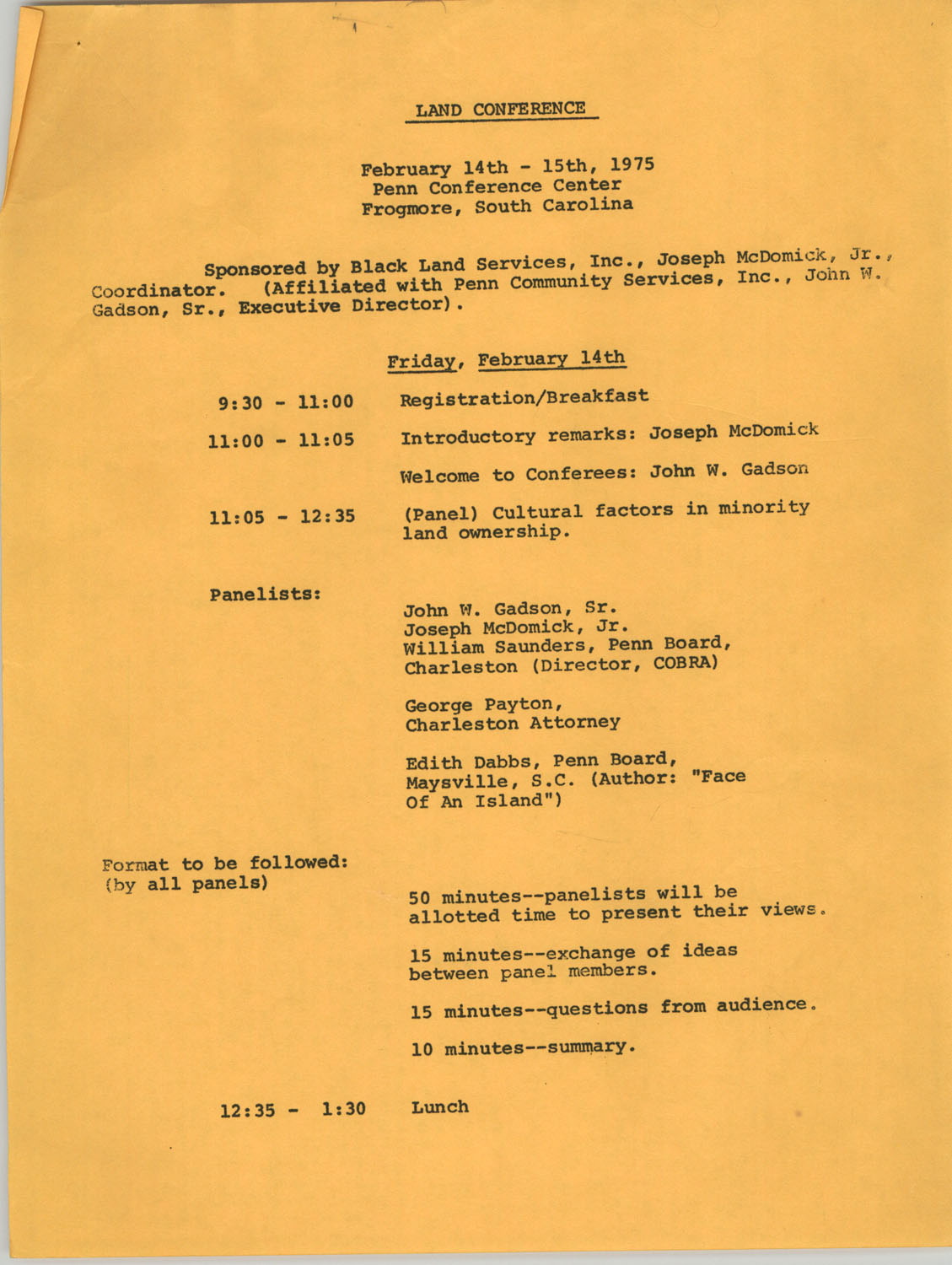Land Conference, February 14th and 15th, 1975
